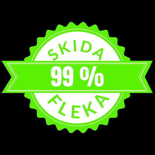 Ilustracija bedža zelene boje koji garantuje skidanje 99% fleka